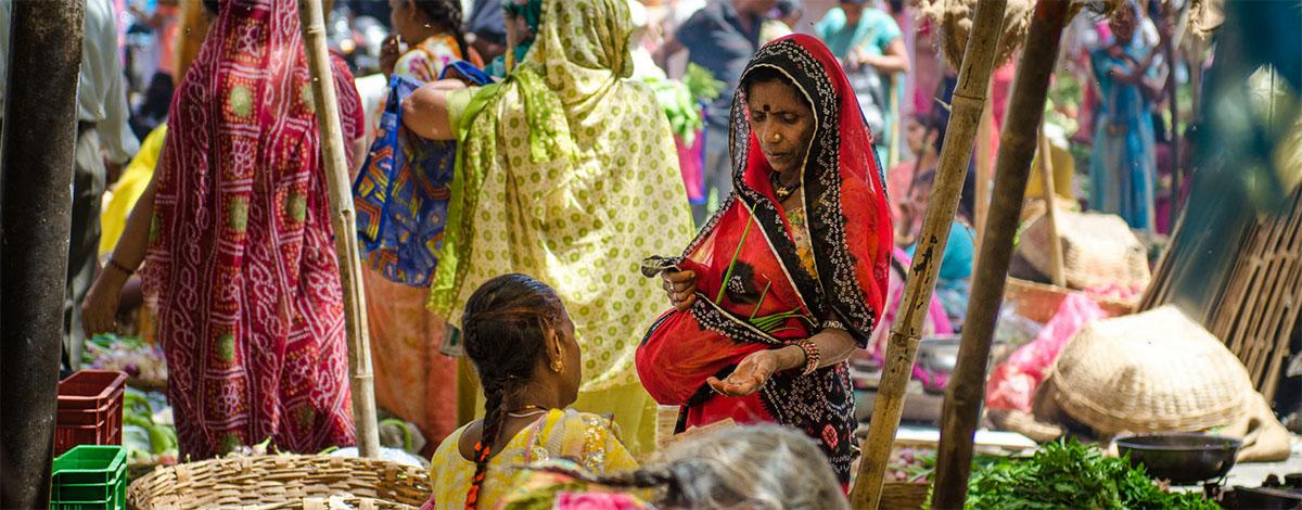 Een markt in Madurai