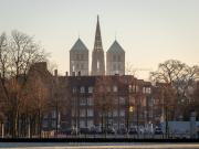 Blik over de kerktorens van Münster