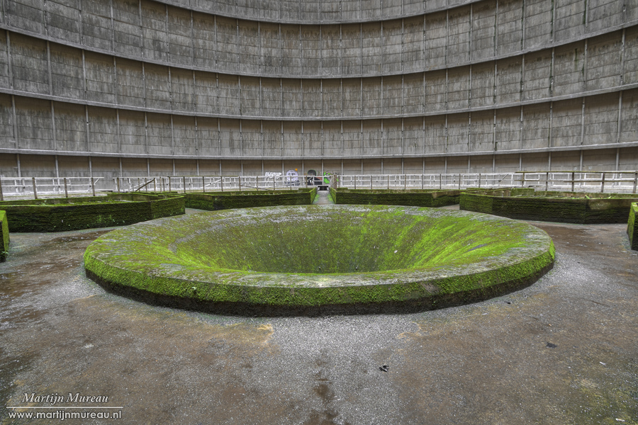Het centrum van de koeltoren, waar het hete water uit kwam